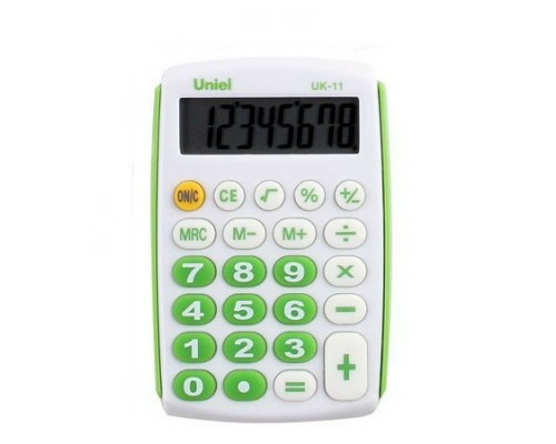 Калькулятор UK-11G UNIEL (зеленый) карманный 8 разрядов