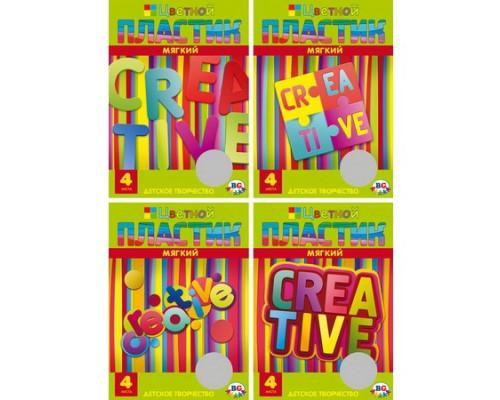 Пластик цветной мягкий А4 4 цвета 1433 Creative (ассорти)