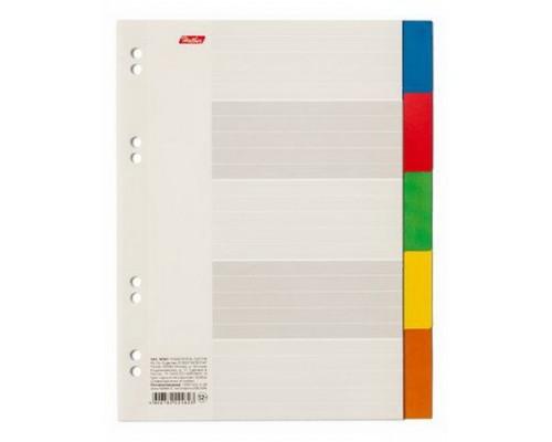 Разделитель листов А5 Hatber (5 цветов) картон