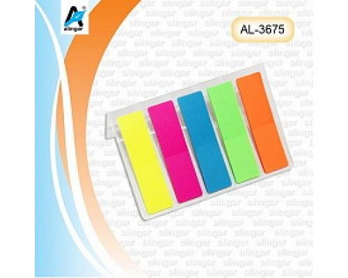 Закладки пластиковые с липким слоем 12мм*45мм 5 цветов по 20 листов