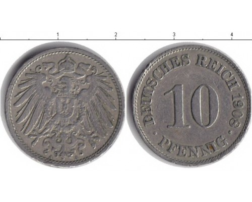 БЕЗ СКИДКИ Монета 10 пфенингов Кайзеровская Германия