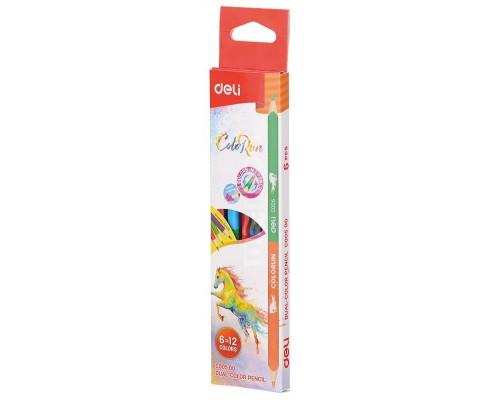 Карандаши цветные 12 цветов Deli ColoRun липа двухтороние сторонние