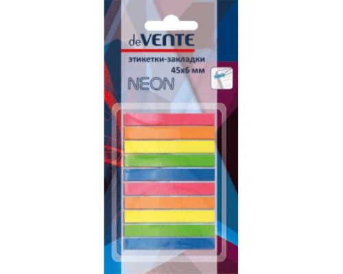 Закладки с липким слоем deVENTE пластиковые полупрозрачные, 45x6 мм, 10x25 листов, 10 неоновых полосок