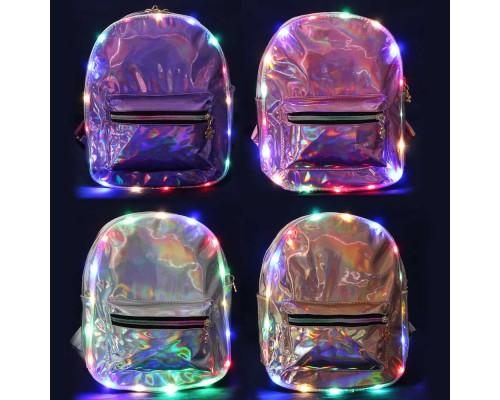 Рюкзак-мини 28х23х10см, с LED подсветкой, 4 цвета в ассортименте