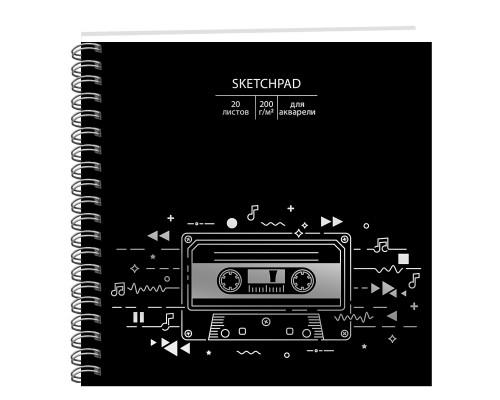 Скетчбук 195х195мм 20 листов на спирали Music