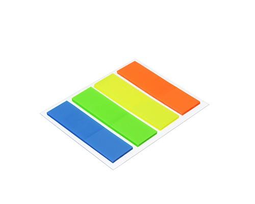 Закладки с клеевым краем пластиковые 45x12мм, 4x25 листов, 4 цвета, прямоугольные
